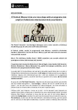 Toda la Música | El Festival Altaveu inicia una nueva etapa con un programa más amplio en la edición más internacional de su historia