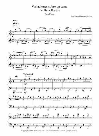 Toda la Música | Partitura para piano I   Nivel de dificultad: alto