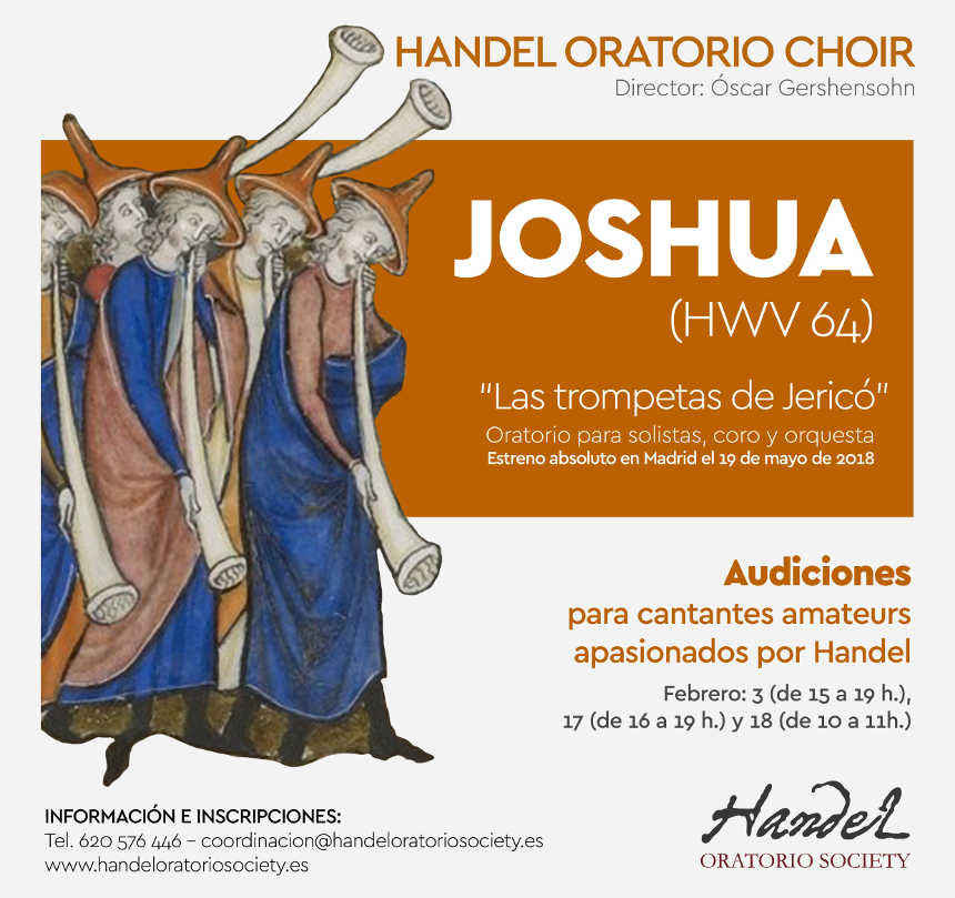 Toda la Música | La Handel Oratorio Society convoca audiciones para formar parte del coro de su 2º proyecto: Joshua