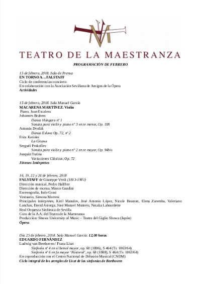 Toda la Música | Macarena Martínez. Violín y piano con aliento eslavo en el Teatro de la Maestranza
