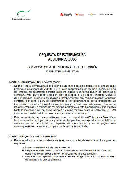 Toda la Música | Bolsa de trabajo para violines 2018 para la Orquesta de Extremadura