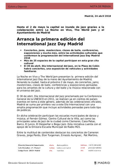 Toda la Música | Arranca la primera edición del International Jazz Day Madrid