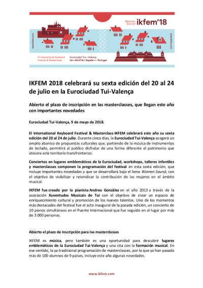 Toda la Música | IKFEM 2018 celebrará su sexta edición del 20 al 24 de julio en la Eurociudad Tui Valença