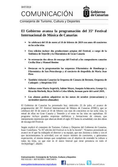 Toda la Música | El Gobierno avanza la programación del 35º Festival Internacional de Música de Canarias
