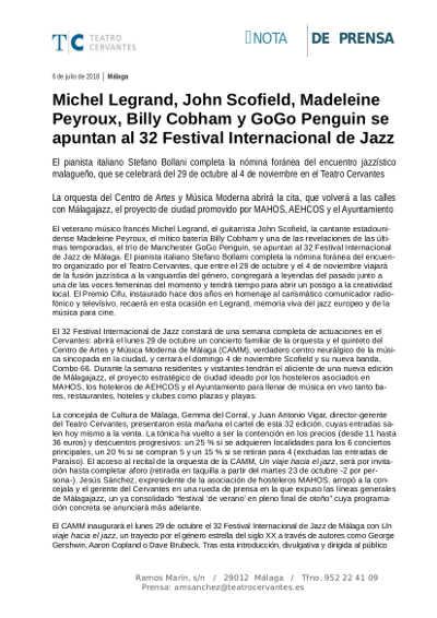 Toda la Música | Michel Legrand, John Scofield, Madeleine Peyroux, Billy Cobham y GoGo Penguin