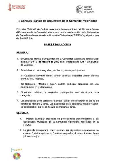 Toda la Música | València abre la convocatoria para premiar a las mejores orquestas de la Comunitat