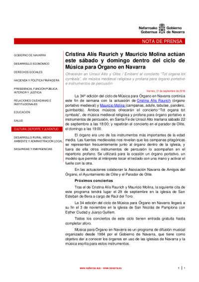 Toda la Música | Cristina Alís Raurich y Mauricio Molina actúan este sábado y domingo dentro del ciclo de Música para Órgano en Navarra