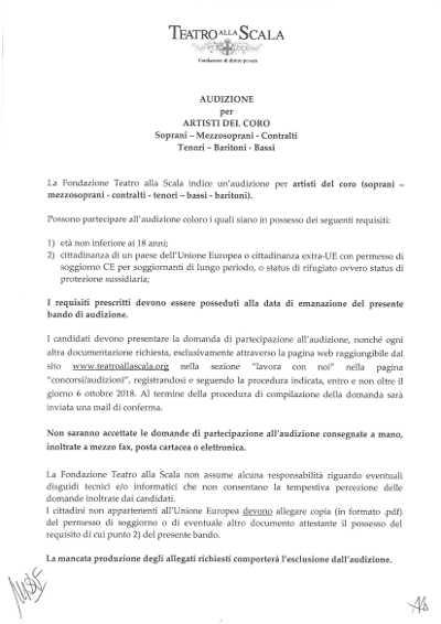 Toda la Música | La Scala de Milán convoca nuevas audiciones para todas las voces del coro