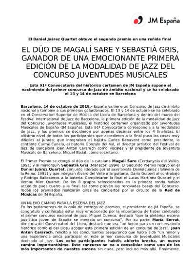 Toda la Música | Ganadores del primer concurso de jazz de Juventudes Musicales de España