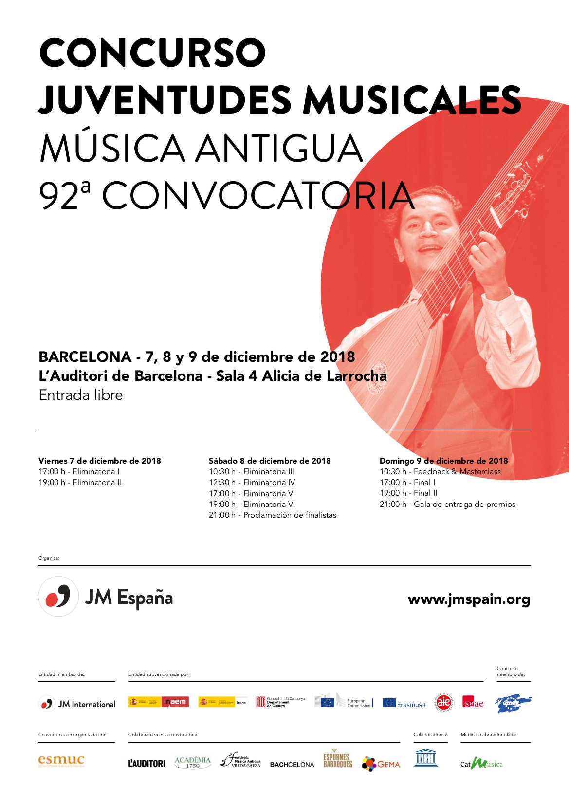 Toda la Música | Juventudes Musicales de España organiza en Barcelona el Primer Concurso Estatal de Música Antigua