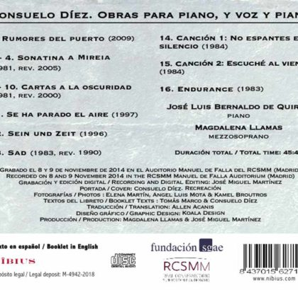 Toda la Música | Nuevo disco de la compositora Consuelo Díez. Consuelo Díez: Piano Works and Two Songs