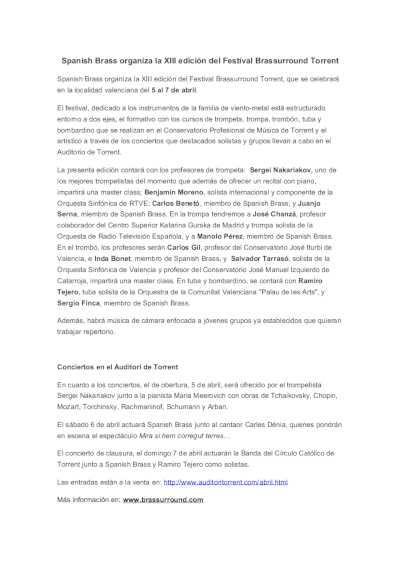 Toda la Música | Spanish Brass organiza la XIII edición del Festival Brassurround Torrent
