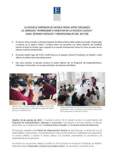 Toda la Música   La Escuela Reina Sofía organiza la jornada Emprender e Innovar en la Música Clásica