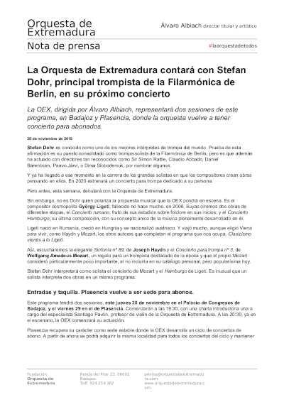 Toda la Música | La OEX contará con Stefan Dohr, principal trompista de la Filarmónica de Berlín, en su próximo concierto