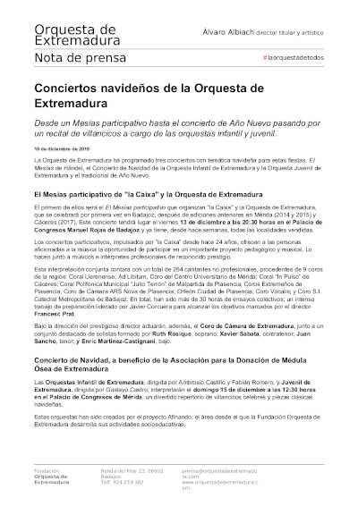 Toda la Música | Conciertos navideños de la Orquesta de Extremadura