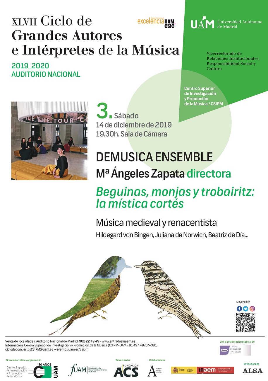 Toda la Música | DeMusica Ensemble da voz a compositoras medievales en el Ciclo de Grandes Autores e Intérpretes de la UAM