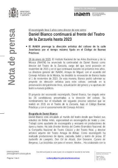 Toda la Música | Daniel Bianco continuará al frente del Teatro de la Zarzuela hasta 2023