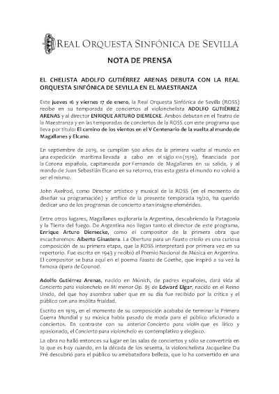 Toda la Música | El chelista Adolfo Gutiérrez Arenas debuta con la Real Orquesta Sinfónica de Sevilla