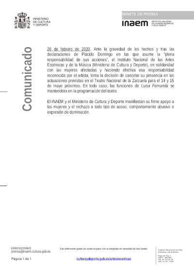 Toda la Música | El INAEM Cancela: Plácido Domingo celebrará en el Teatro de la Zarzuela los 50 años de su debut en Madrid