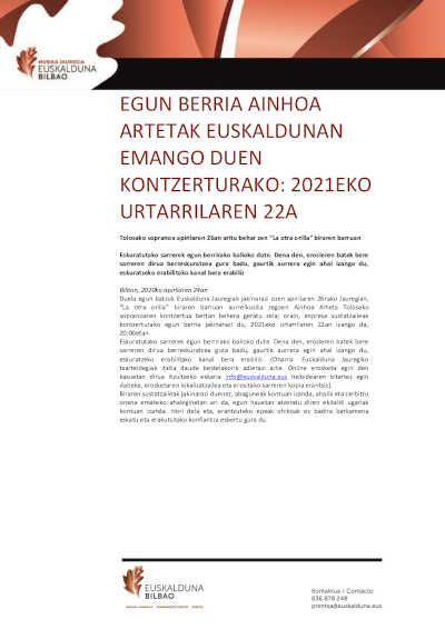 Toda la Música | Nueva fecha para el concierto de Ainhoa Arteta en Euskalduna
