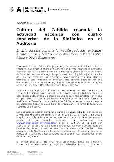 Toda la Música | El Auditorio de Tenerife vuelve a escena con cuatro conciertos de la Sinfónica de Tenerife