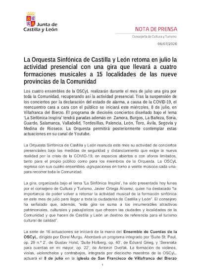 Toda la Música | La Sinfónica de Castilla y León retoma la actividad presencial con una gira de conciertos