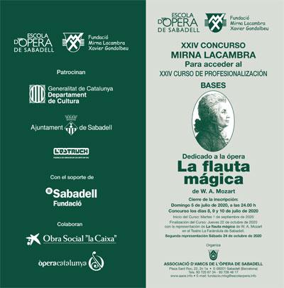 Toda la Música | XXIV Concurso Mirna Lacambra para acceder al curso de profesionalizacíón de la Escuela Ópera de Sabadell