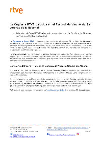 Toda la Música | La Orquesta RTVE participa en el Festival de Verano de San Lorenzo de El Escorial