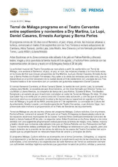 Toda la Música | Terral de Málaga programa en el Teatro Cervantes flamenco, jazz, pop, rock, músicas urbanas y lírica