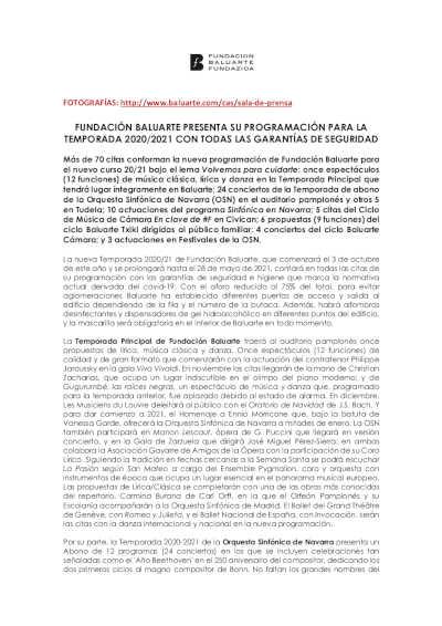 Toda la Música | La Orquesta Sinfónica de Navarra y Fundación Baluarte presentan la Temporada 2020 2021