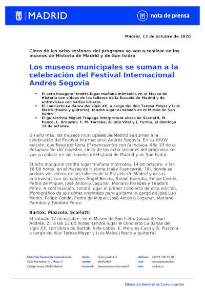 Toda la Música | Los museos municipales se suman a la celebración del Festival Internacional Andrés Segovia
