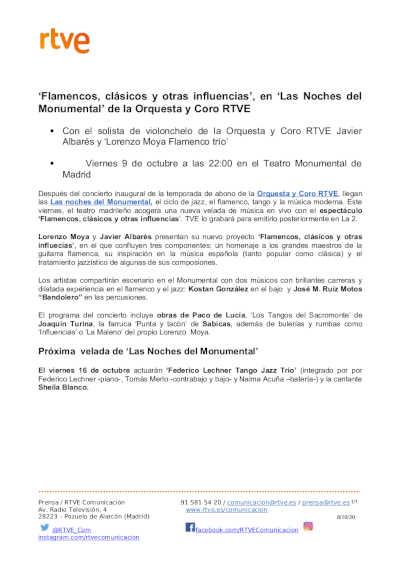 Toda la Música | 'Flamencos, clásicos y otras influencias', en 'Las Noches del Monumental' de la Orquesta y Coro RTVE