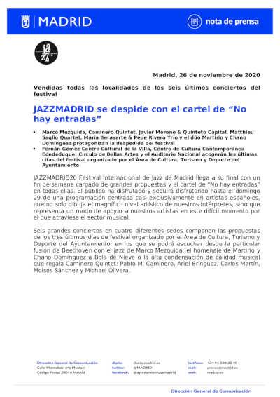 Toda la Música | JAZZMADRID20 se despide de esta edición con el cartel de No hay entradas