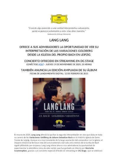 Toda la Música | Lang Lang / Goldberg Variations: Concierto desde Leipzig & nueva versión extendida de la grabación