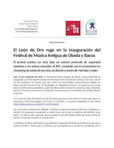 Toda la Música   El León de Oro ruge en la inauguración del Festival de Música Antigua de Úbeda y Baeza