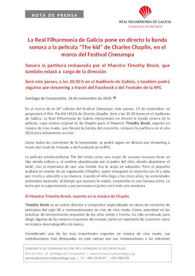 Toda la Música | La Real Filharmonía de Galicia pone en directo la banda sonora a la película The kid de Charles Chaplin