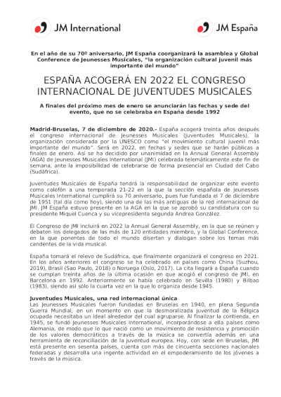 Toda la Música | España acogerá en 2022 el Congreso Internacional de Juventudes Musicales