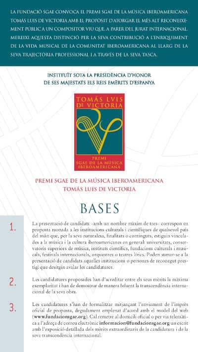 Toda la Música | La Fundación SGAE convoca el XVIII Premio SGAE de la Música Iberoamericana  'Tomás Luis de Victoria' 2021