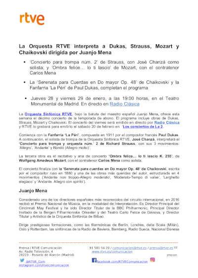 Toda la Música | Juanjo Mena dirige la Orquesta Sinfónica RTVE con un programa de Dukas, Strauss, Mozart y Chaikovski