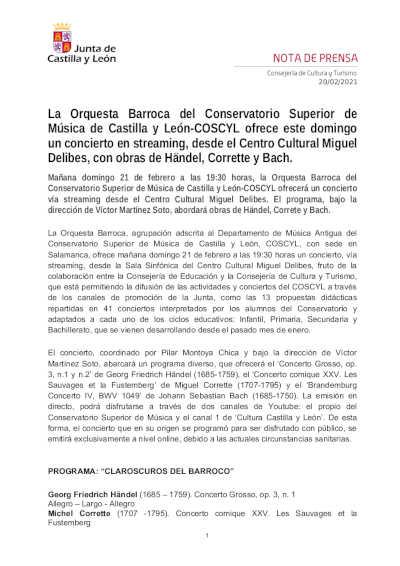 Toda la Música | Orquesta Barroca del Conservatorio Superior de Música de Castilla y León COSCYL ofrece concierto en streaming