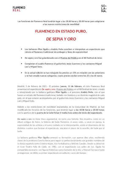 Toda la Música | Flamenco en estado puro con el espectáculo De sepia y oro en el Teatro Real de Madrid