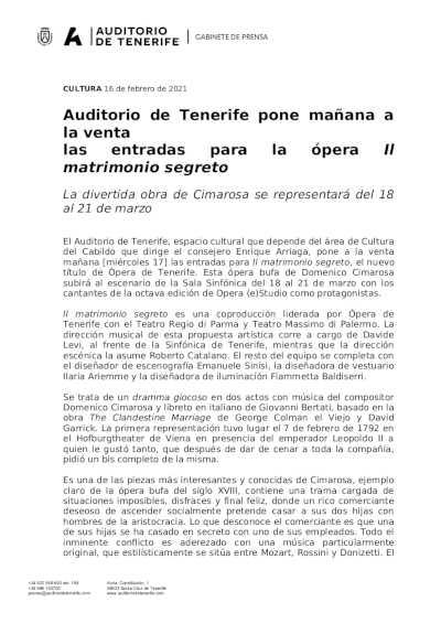 Toda la Música | Auditorio de Tenerife pone a la venta las entradas para la ópera Il matrimonio segreto