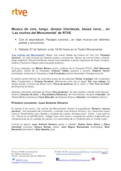 Toda la Música | Música de cine, tango, danzas irlandesas, bossa nova… en 'Las noches del Monumental' de RTVE