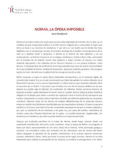 Toda la Música | Nota actualizada: El Teatro Real ofrece una nueva producción de la ópera Norma de Vincenzo Bellini