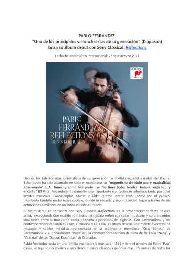 Toda la Música | Pablo Ferrández, uno de los principales violoncelistas de su generación, según Diapason, debuta con Sony Classical
