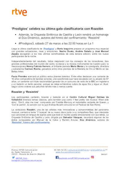 Toda la Música | Prodigios celebra su última gala clasificatoria con Rozalén