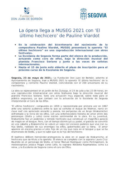 Toda la Música   La ópera llega a MUSEG 2021 con 'El último hechicero' de Pauline Viardot