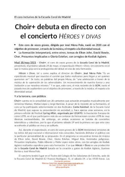 Toda la Música | Choir+ debuta en directo con el concierto Héroes y Divas