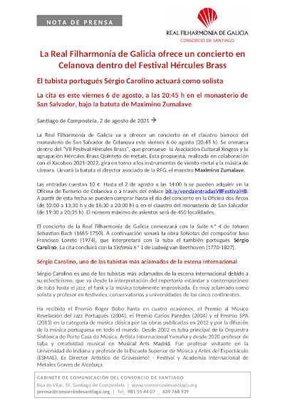Toda la Música   La Real Filharmonía de Galicia ofrece un concierto en Celanova dentro del Festival Hércules Brass